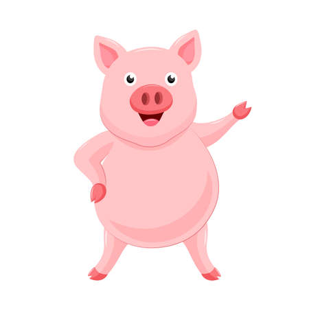 Cute cartoon pig standing. Character design. Vector illustration isolated on white background.