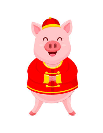 Funny cartoon pig characters wearing traditional Chinese costume. Happy Chinese New Year concept. Happiness piggy smiling. Illustration isolated on white background.