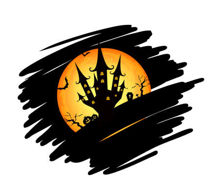 Halloween castle with full moon. Happy Halloween day. Vector illustration isolated on white background.
