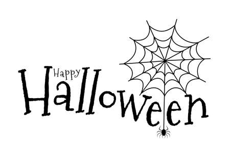 Happy Halloween lettering design. Vector illustration isolated on white background. Holiday calligraphy with spider and web for banner, poster, greeting card, party invitation.