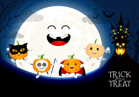 Funny cute cartoon pumpkin character. Dracula, ghost, black cat and skull in moon night background.  Trick or treat, happy Halloween concept. Design for banner, poster, greeting card. Illustration.