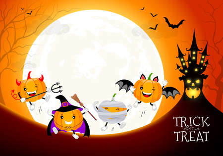 Funny cute cartoon pumpkin character. Witch, mummy, bat and devil in moon night background.  Trick or treat, happy Halloween concept. Design for banner, poster, greeting card. Illustration. Illustration