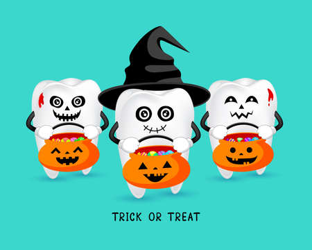 Cartoon spooky tooth with black hat. Trick or treat, Halloween concept. Illustration isolated on green background.