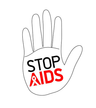 Stop AIDS lettering design in hand. Aids Awareness icon design for poster, banner, t-shirt. Vector illustration isolated on white background.