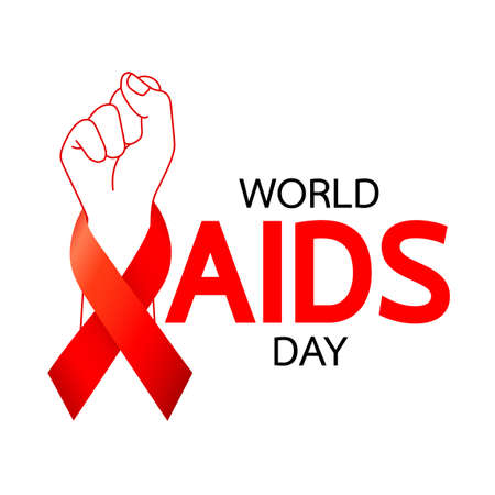 World AIDS Day. Red ribbon with handful. Aids Awareness icon design for poster, banner, t-shirt. Vector illustration isolated on white background. Illustration