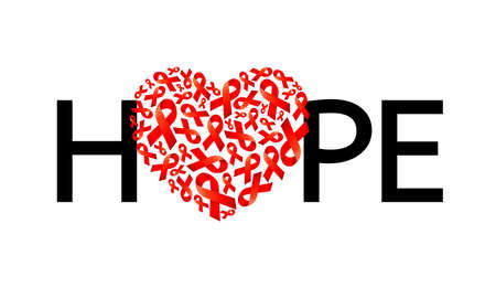 Hope lettering design with heart shape of red ribbon. World AIDS Day. Aids Awareness design for poster, banner, t-shirt. Vector illustration isolated on white background. Vector Illustration
