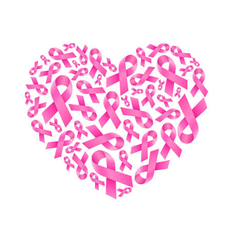 Pink ribbon fill in heart shape. Breast Cancer Awareness. Icon design for poster, banner, t-shirt. Vector illustration isolated on white background. Ilustracja