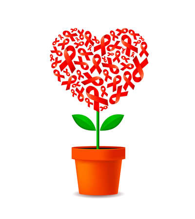 Heart shape of red ribbon in flower pot. World AIDS Day. Aids Awareness icon design for poster, banner, t-shirt. Vector illustration isolated on white background.