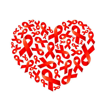 Red ribbon fill in heart shape. World AIDS Day. Aids Awareness icon design for poster, banner, t-shirt. Vector illustration isolated on white background.