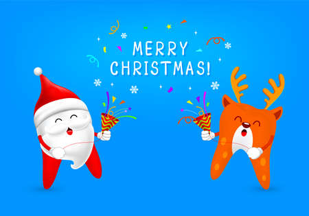 Cartoon tooth character with paper shoot. Santa clause and reindeer. Merry Christmas and happy new year. Dental care concept. Illustration on blue background. Ilustracja