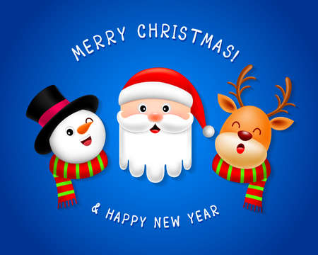 Funny Christmas Characters design. Santa Claus, snowman and reindeer. Merry Christmas and Happy new year concept. Illustration isolated on blue background.