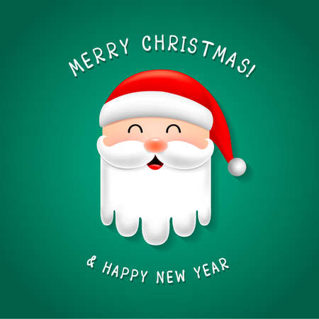 Funny Christmas Characters design, Santa Claus. Merry Christmas and Happy new year concept. Illustration isolated on green background.