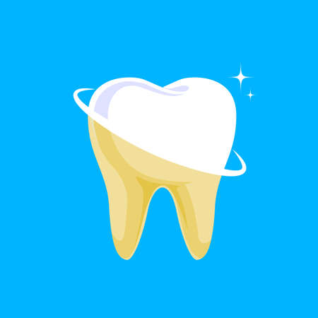 Tooth before and after. Yellow becomes white, Dental care concept,  illustration isolated on blue background. Çizim