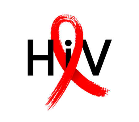 Hiv with red ribbon in brush style. World AIDS Day. Aids Awareness icon design for poster, banner, t-shirt. illustration isolated on white background.