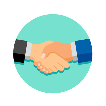 Shaking hands on business in green circle. Symbol of success deal, happy partnership, greeting shake, casual handshaking agreement flat design. Vector illustration isolated on white background