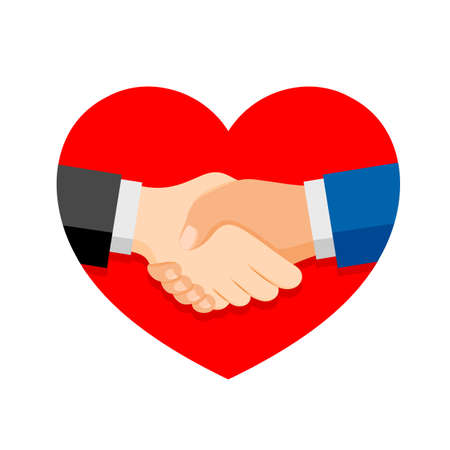 Shaking hands on business in red heart shape. Symbol of success deal, happy partnership, greeting shake, casual handshaking agreement flat design. Vector illustration isolated on white background Ilustracja