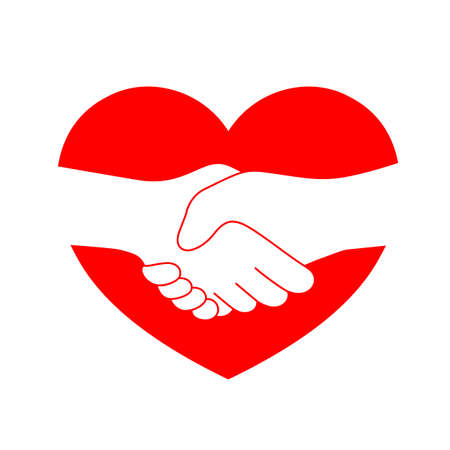 Handshake outline in red heart shape. Friendship and partnership concept. Pictogram Symbol. Vector illustration isolated on white background.