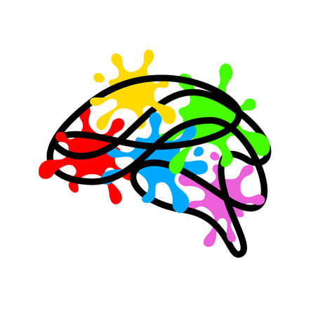 Outline brain shape with colorful splash. Creative mind concept. Vector illustration isolated on white background.