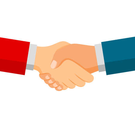 Shaking hands on business. Symbol of success deal, happy partnership, greeting shake, casual handshaking agreement flat design. Vector illustration isolated on white background