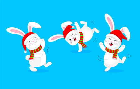 White rabbit with santa hat and scarf jumping and dancing. Cute bunny. Cartoon character design. Illustration isolated on blue background.
