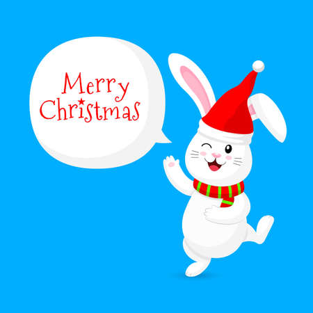 White rabbit with santa hat and scarf. Merry Christmas and happy new year concept. Cute bunny. Cartoon character design. Illustration isolated on blue background.