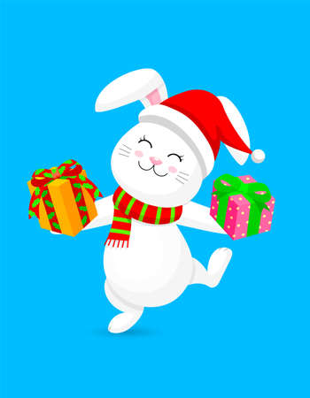 White rabbit with santa hat, gift and scarf. Merry Christmas and happy new year concept. Cute bunny. Cartoon character design. Illustration isolated on blue background. Ilustracja