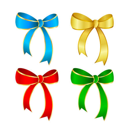 Colors collection of ribbons bows. Blue, green, red and gold. Vector illustration isolated on white background.