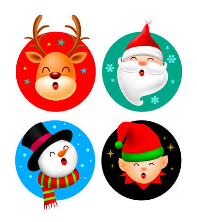Set of Christmas character design in circle. Reindeer, Santa Claus, Snowman and cartoon elf. Merry Christmas concept. Vector illustration isolated on white background.