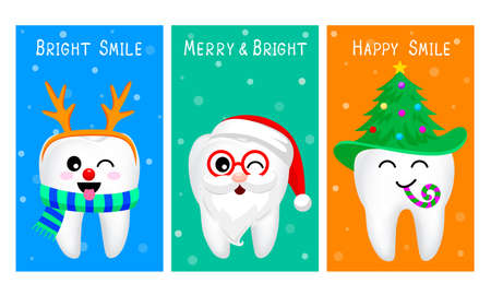 Set of Christmas tooth characters. Emoticons facial expressions. Funny dental care concept. Illustration isolated on blue background. Ilustracja