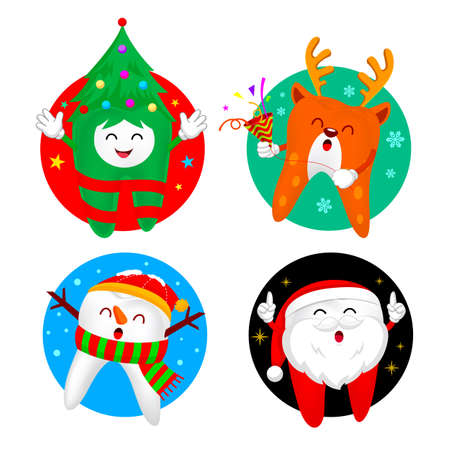 Christmas Teeth Characters design in circle. Santa Claus, Snowman Christmas tree and Reindeer. Merry Christmas and Happy new year concept. Illustration isolated on white background. Ilustracja