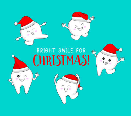 Cute cartoon tooth character with Santa hat. Bright smile for Christmas, dental care concept. Vector illustration isolated on green background.