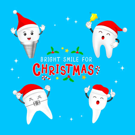 Happy cute cartoon tooth characters with Santa hat. Dental care concept. Merry Christmas and happy new year, Illustration on blue background.