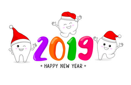 Cute cartoon tooth character with Santa hat. Happy new year, dental care concept. Vector illustration isolated on white background.