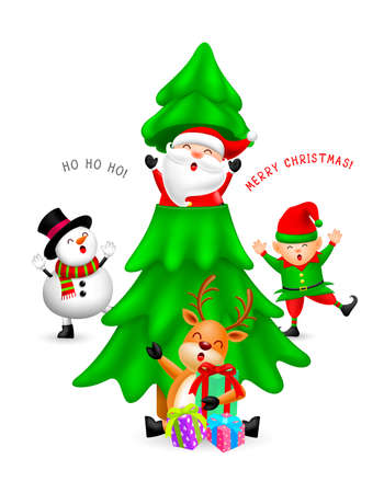 Funny Christmas cartton characters with Christmas tree. Santa Claus, Snowman, elf and Reindeer. Merry Christmas and Happy new year concept. Illustration isolated on white background. Ilustracja