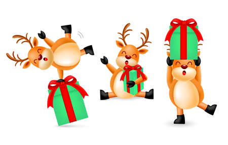 Collection of cute cartoon Reindeer with gift boxes. Merry Christmas and Happy New Year. Illustration isolated on white background.
