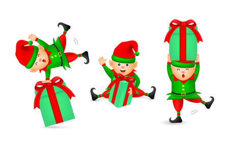 Collection of cute cartoon little elf with gift boxes. Merry Christmas and Happy New Year. Illustration isolated on white background. Ilustracja