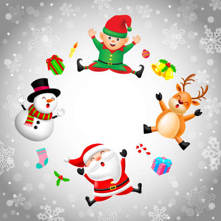 Funny Christmas Characters design, Santa Claus, Snowman, elf and Reindeer on snowflake background. Holly jolly, Merry Christmas and Happy new year concept, Illustration.
