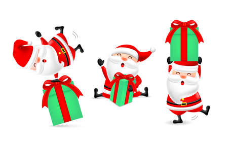 Collection of cute cartoon Santa Clause with gift boxes. Merry Christmas and Happy New Year. Illustration isolated on white background. Ilustracja