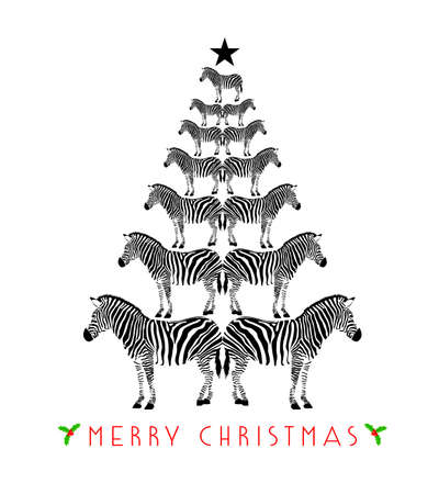 Zebra print shape into Christmas tree. Merry Christmas and happy new year. Wild animal design trendy texture, vector illustration isolated on white background. Ilustracja