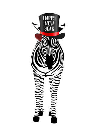 Zebra with black hat. Happy new year concept. Wild animal texture. Striped black and white. Vector illustration isolated on white background.