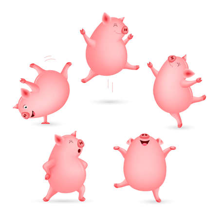 Set of funny pig dancing. Cute cartoon character design. Vector illustration isolated on white background. Ilustracja