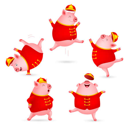 Funny cartoon pigs characters wearing Chinese costume. Happy Chinese New Year concept. Happiness pigs dancing. Illustration isolated on white background. Ilustracja