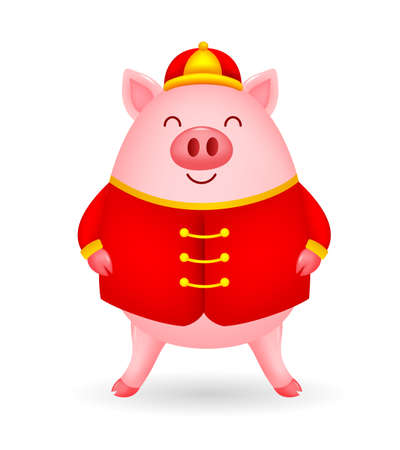 Funny cartoon pig characters wearing Chinese costume. Happy Chinese New Year concept. Happiness pig standing. Illustration isolated on white background. Ilustracja