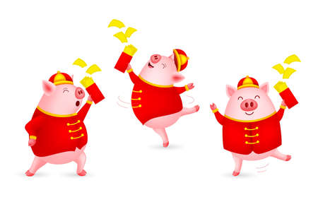 Funny cartoon pig characters wearing Chinese costume. Happy Chinese New Year concept. Happiness piggy dancing. Illustration isolated on white background. Ilustracja