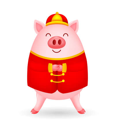 Funny cartoon pig characters wearing Chinese costume. Happy Chinese New Year concept. Illustration isolated on white background. Ilustracja