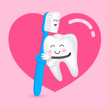 Cute cartoon tooth character hug with brush. Happy valentines day. Vector illustration isolated on pink background.