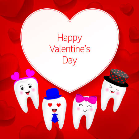 Cute cartoon tooth character with heart. Valentines day concept. Illustration on red background.