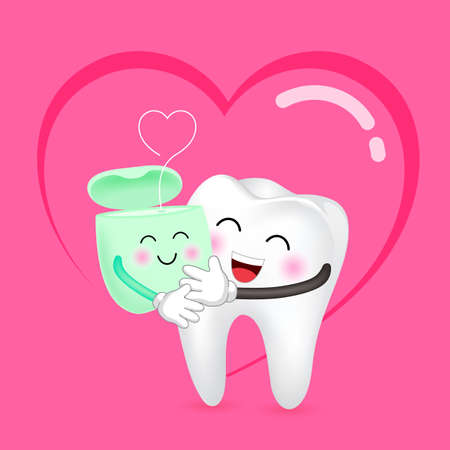 Cute cartoon tooth and dental floss in love. Dental care concept. Happy valentines day. Illustration with background of heart. Ilustracja
