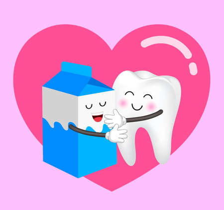 Cute cartoon milk box and tooth in love. Dental care concept. Happy valentines day. Illustration with background of heart. Ilustracja