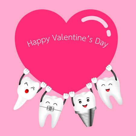 Cute cartoon happy tooth take red heart. Valentines day concept. Illustration on pink background. Ilustracja